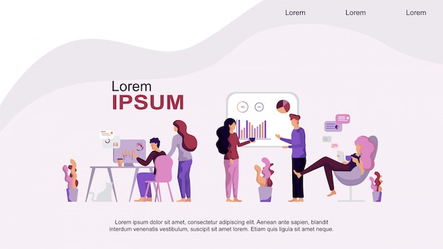 Centro de coworking Vetor Premium