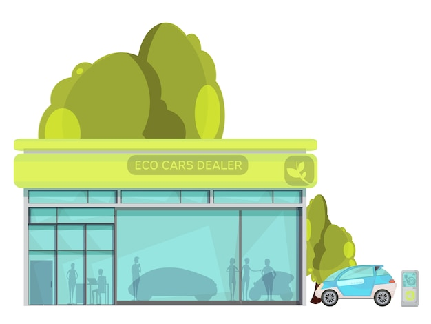 Centro de revendedor de carros elétricos amigável eco plana em fundo branco Vetor grátis