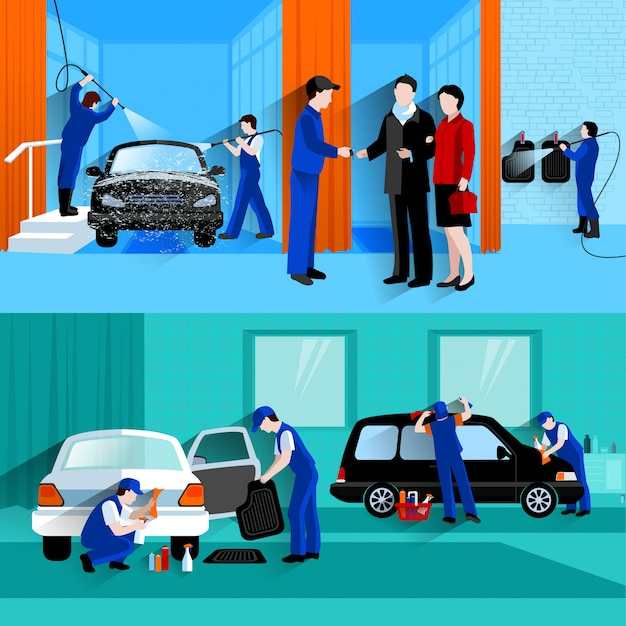 Centro de serviço completo de lavagem de carro 2 banners planas com clientes e spray de detailers sem água Vetor grátis
