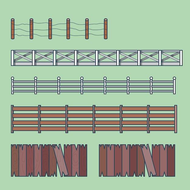 Cerca de campo fazenda conjunto de construção de arquitetura de elemento de esgrima ícones de contorno de traço linear. Vetor grátis