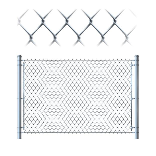 Cerca de elo da cadeia de metal realista Vetor Premium
