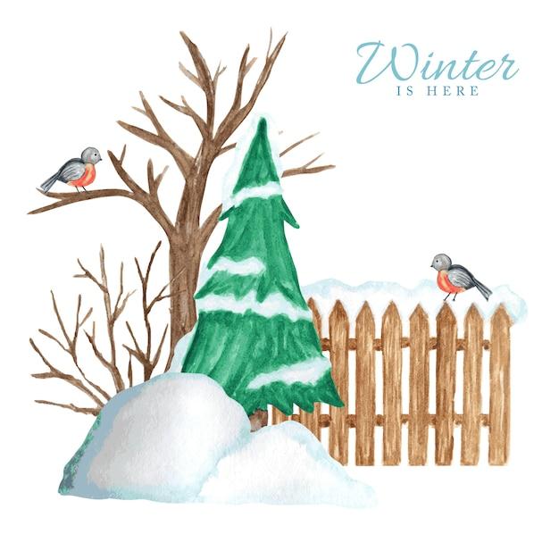 Cerca de madeira no inverno com neve, árvore de natal e par de pássaros dom-fafe e montes de neve. Vetor Premium