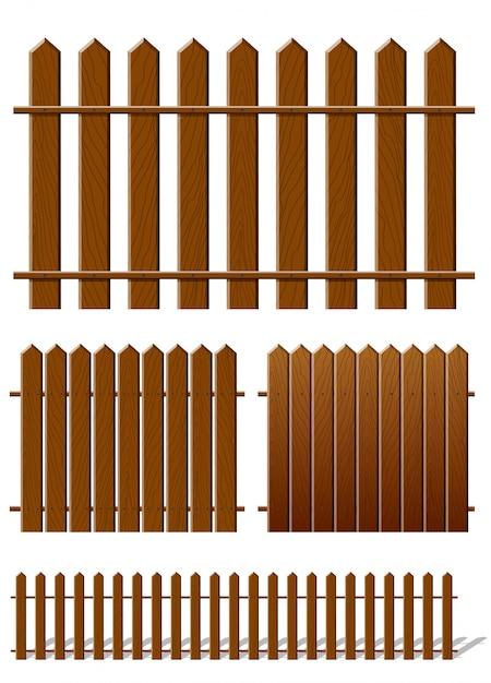 Cerca marrom com textura de madeira Vetor Premium