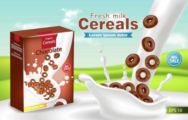 Cereais orgânicos em leite respingo maquete realista Vetor Premium