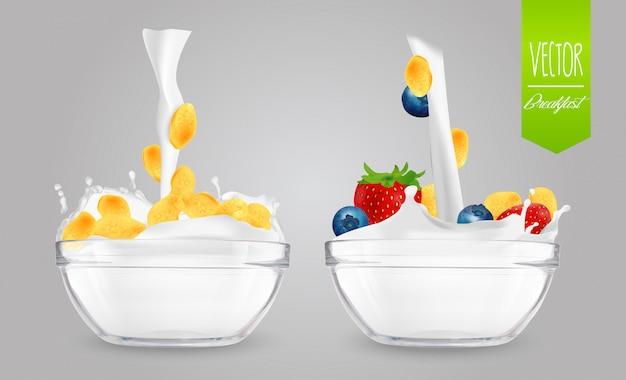 Cereal com leite e bagas Vetor Premium