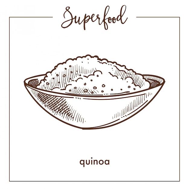 Cereal de quinoa no esboço de superalimento monocromático tigela profunda Vetor Premium