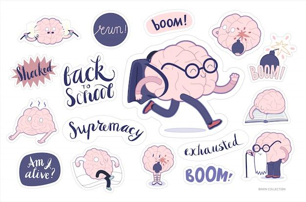 Cérebro adesivos educação e conjunto de estresse Vetor Premium