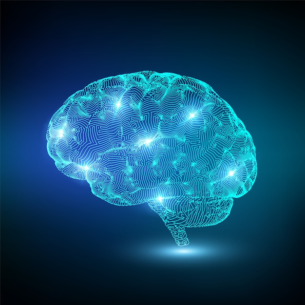 Cérebro brilhante digital Vetor Premium