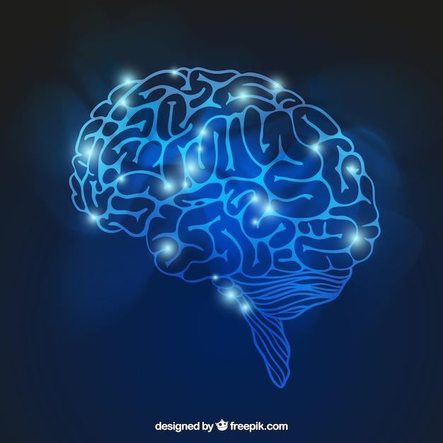 Cérebro brilhante Vetor grátis