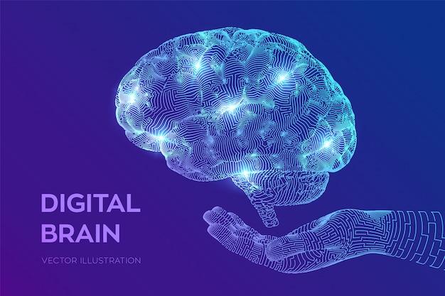 Cérebro. cérebro digital na mão. rede neural. Vetor grátis