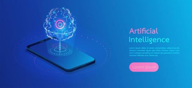Cérebro com circuito digital artificial intelligence landing page Vetor Premium