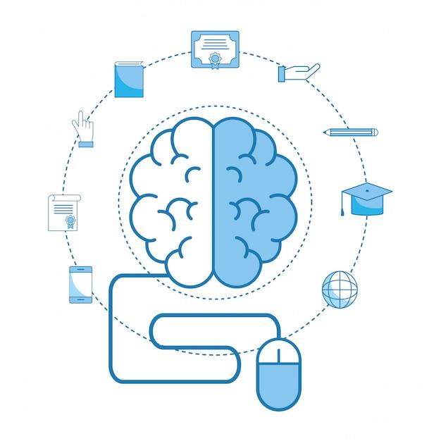 Cérebro com diploma de educação e chapéu de formatura Vetor Premium