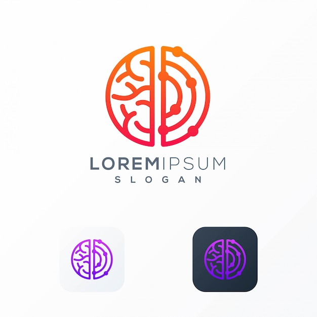 Cérebro conectar design de logotipo pronto para uso Vetor Premium