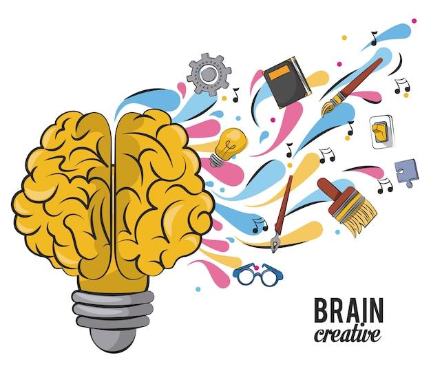 Cérebro criativo com material escolar Vetor Premium