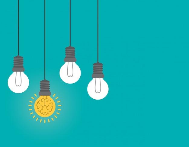 Cérebro de incandescência dentro do bulbo, conceito da ideia. Vetor Premium