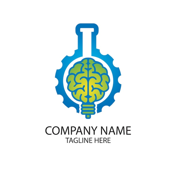 Cérebro de laboratório e gerar logotipo Vetor Premium