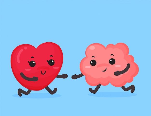 Cérebro e coração que abraçam o amor. Vetor Premium