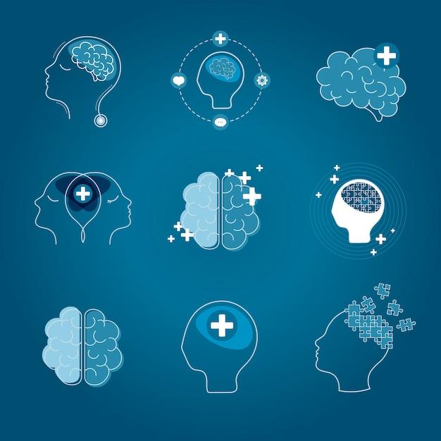Cérebro e saúde mental ícones vector set Vetor grátis