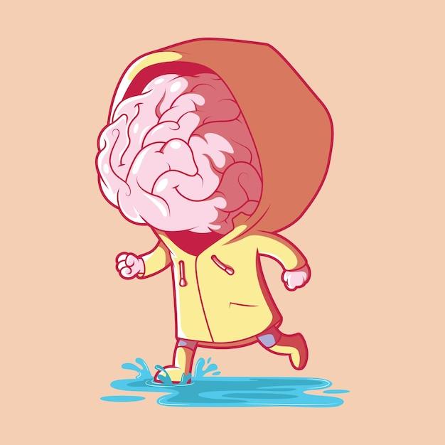 Cérebro em uma ilustração de tempestade. brainstorm, inspiração, conceito de design de inovação. Vetor Premium