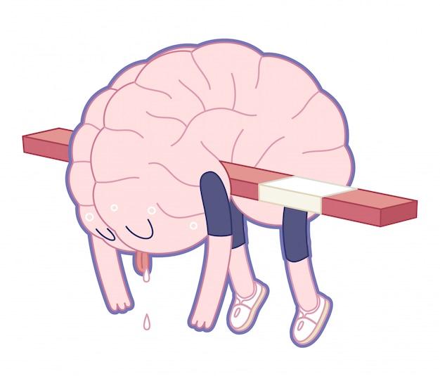 Cérebro exausto Vetor Premium