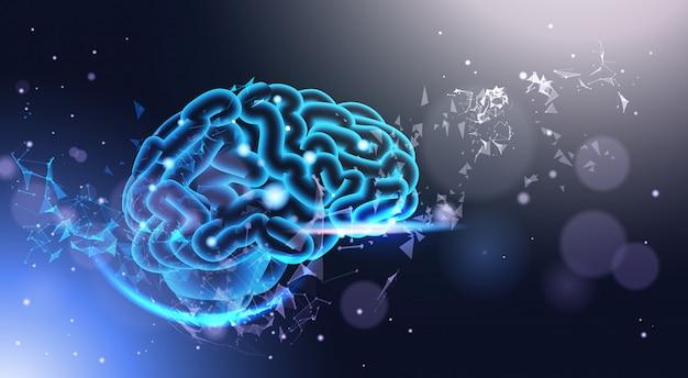 Cérebro humano brilhante no fundo poligonal com brilho ciência de low poly estilo poli ciência, medicina e conceito de tecnologia Vetor Premium