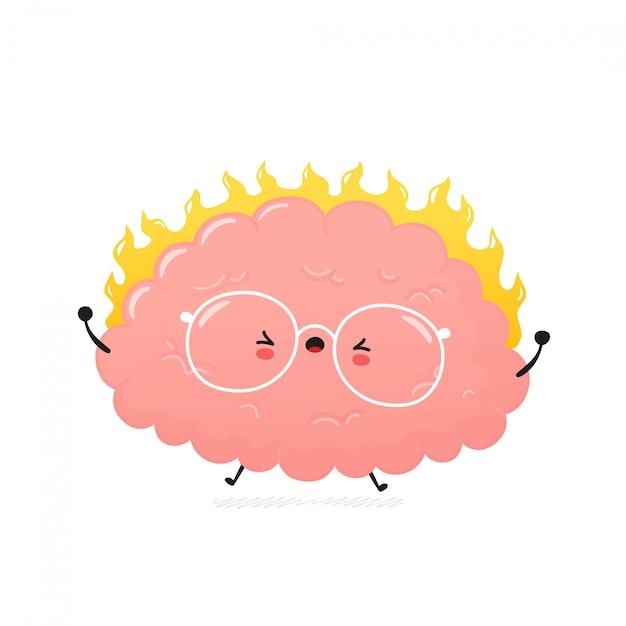 Cérebro humano com raiva bonito. desenho animado personagem ilustração ícone do design. isolado no fundo branco Vetor Premium