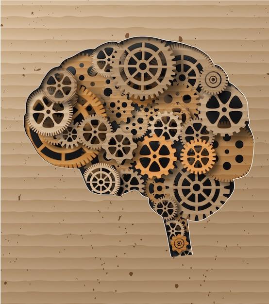 Cérebro humano construído em engrenagens e engrenagens Vetor Premium