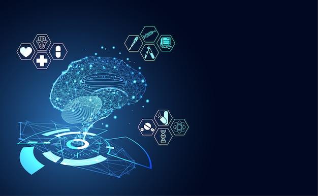 ็็ cérebro humano digital wireframe dot e ícone de saúde Vetor Premium