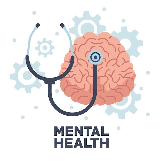 Cérebro humano do dia da saúde mental com estetoscópio e máquinas de engrenagens Vetor Premium