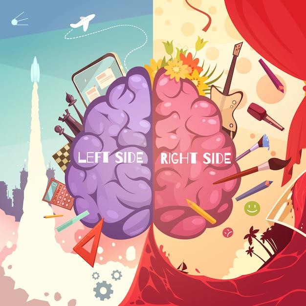 Cérebro humano esquerda e direita diferença lado aprendizagem educativa ajuda cartoon retrô simbólico cartaz impressão ilustração vetorial Vetor Premium