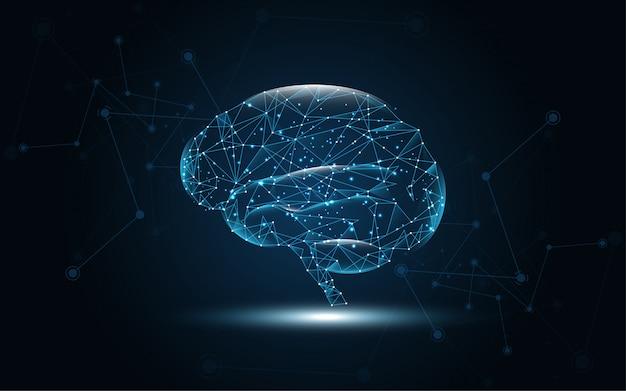 Cérebro humano fio digital gráfico ponto e linha de fundo Vetor Premium