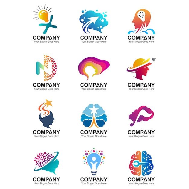 Cérebro, mente criativa, modelo de logotipo de educação, ícones de logotipo idéia inteligente, conjunto de símbolo de ciência Vetor Premium