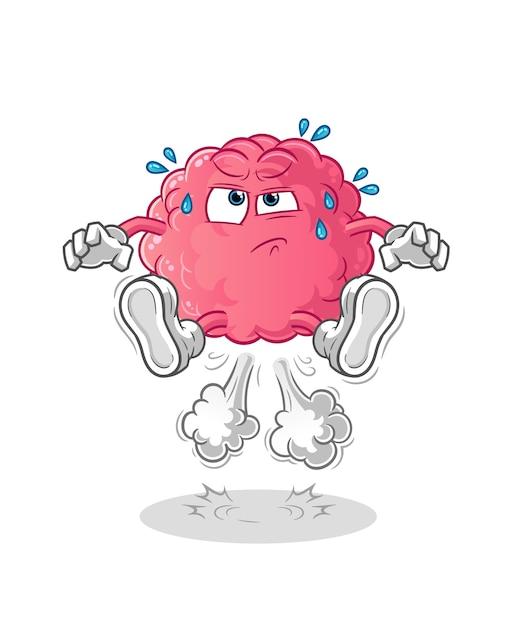 Cérebro peido pulando ilustração. vetor de personagem Vetor Premium