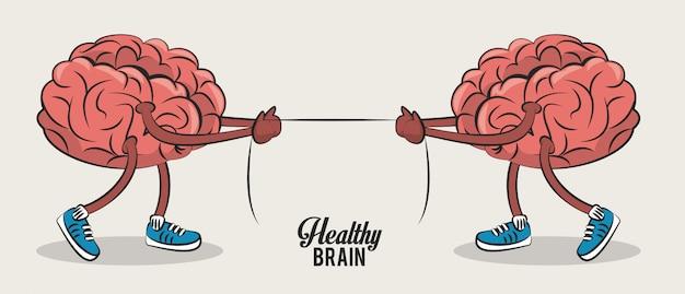 Cérebros bonitos puxando desenhos animados de corda Vetor Premium