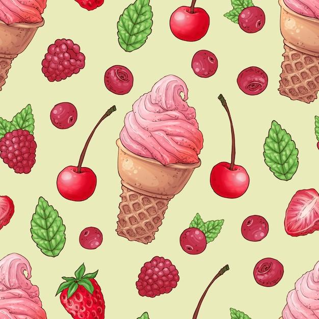 Cereja de framboesa de sorvete sem costura padrão. Vetor Premium