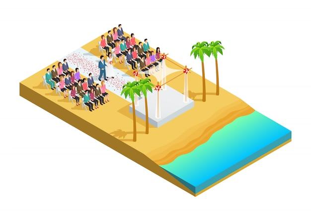 Cerimônia de casamento em uma composição isométrica do lado da praia Vetor grátis