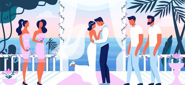 Cerimônia de casamento lindo terraço com vista para o mar Vetor Premium