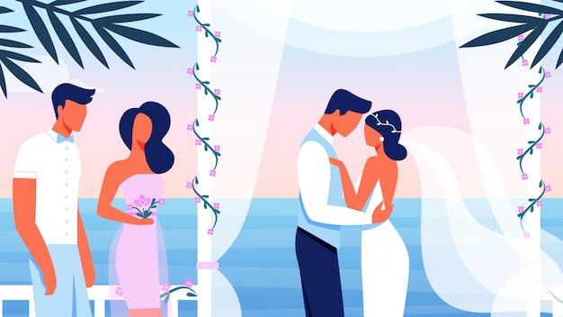 Cerimônia de casamento no belo terraço com vista para o mar Vetor Premium