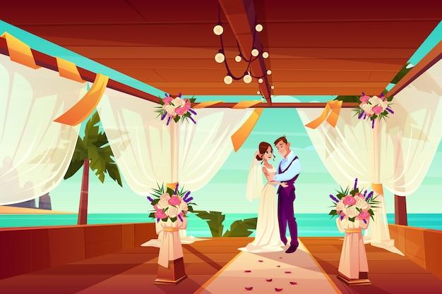 Cerimônia de casamento no país exótico ou no conceito tropical do vetor dos desenhos animados da praia. Vetor grátis