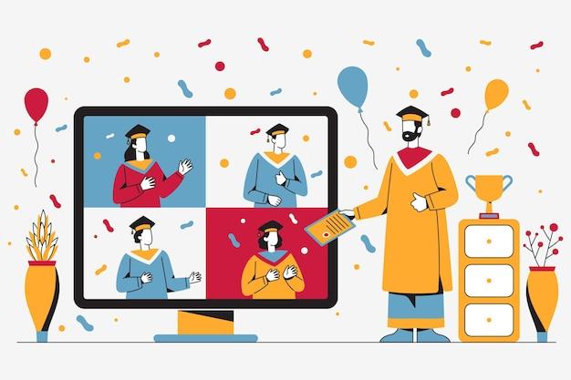 Cerimônia de formatura ilustrada na plataforma online Vetor grátis