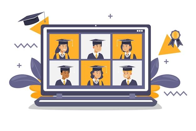 Cerimônia de formatura virtual no laptop Vetor grátis