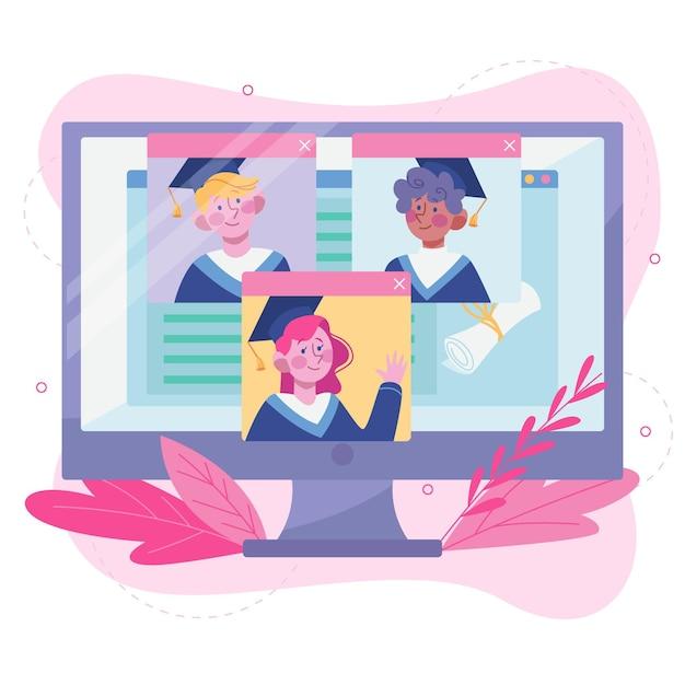 Cerimônia de formatura virtual Vetor grátis