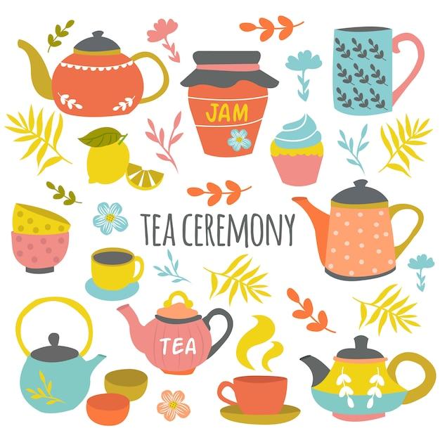 Cerimônia do chá mão desenhada composição Vetor grátis