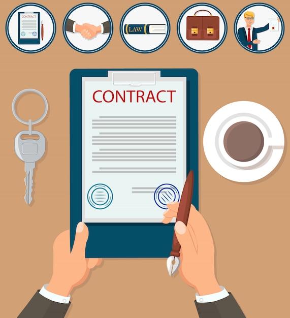 Certificação de contrato de assinatura de ilustração vetorial Vetor Premium