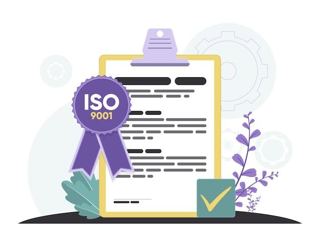 Certificação iso 9001 com fita violeta Vetor grátis