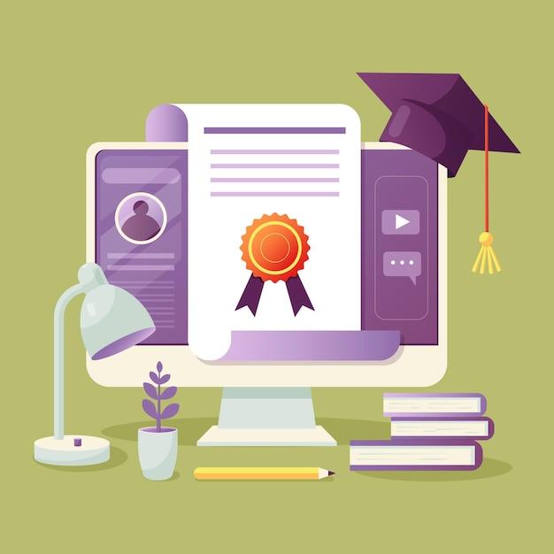 Certificação online ilustrada na tela Vetor grátis