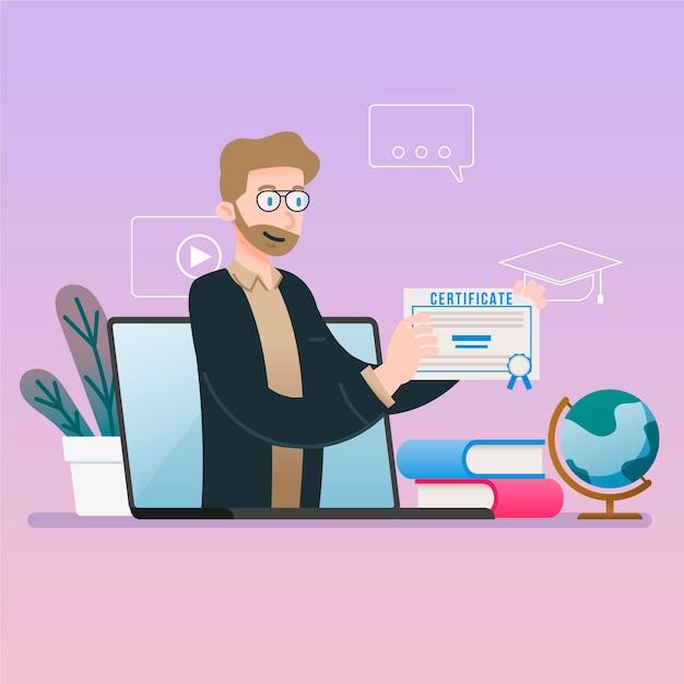 Certificação online para estudantes graduados Vetor grátis