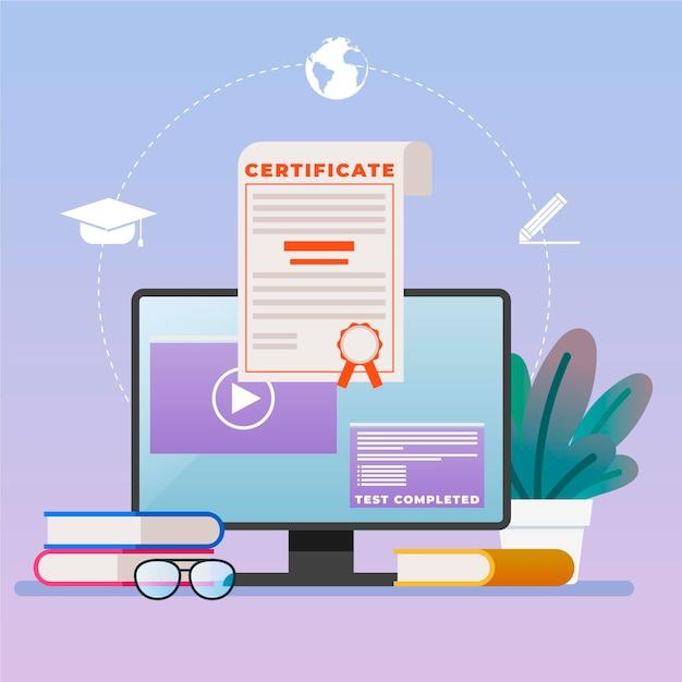 Certificação online para estudantes que fazem exames em casa Vetor grátis