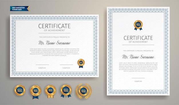 Certificado azul e dourado da fronteira de apreciação Vetor Premium