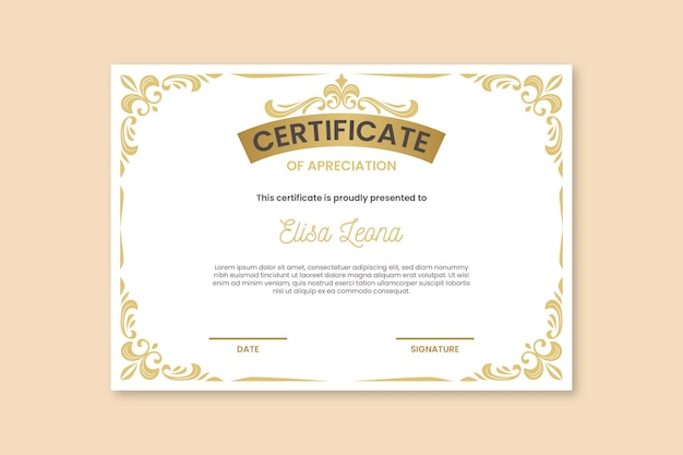Certificado com elegantes ornamentos de ouro Vetor grátis